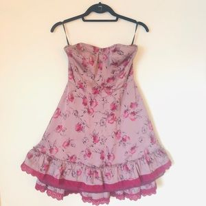 Free people Strapless Floral Mini Sress  Sz 6.